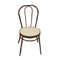 Brown Bentwood chair with beige rattan seat (aluminium)