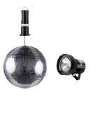 Disco Ball, motor & spotlight (12 inch)