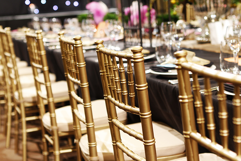 & Tiffany Chairs Hire - Silver Gold and Black available