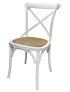 White cross back chair with rattan seat