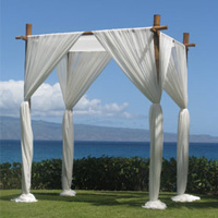 4 x Post Cabanna with white draping