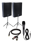PA System With Corded Mic And Speaker Stands