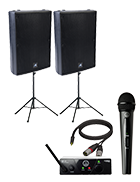 PA System With Wireless Mic and Speaker Stand