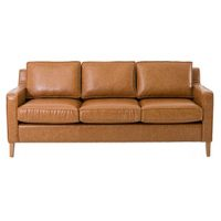 Tan Faux Leather 3 Seater
